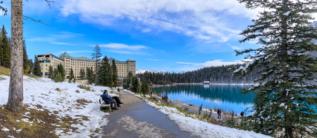 Alberta, Canada - October 7, 2018 : Famous Fairmont Chateau Lake Louise Hotel in the Banff National Park