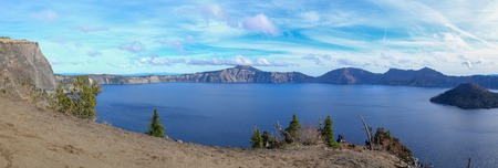 Panoramic view of Crater Lake National Park, Oregon, USA Stock Photo