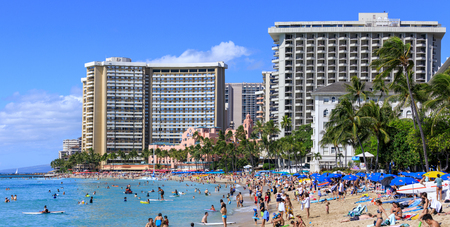 Honolulu, Hawaii - Dec 23, 2018 : Waikiki beach in Honolulu, best known for white sand and surfing Editorial