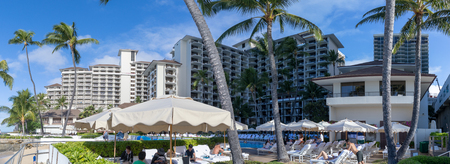 Honolulu, Hawaii - Dec 25, 2018 : View of the Halekulani Hotel, famous Waikiki beach