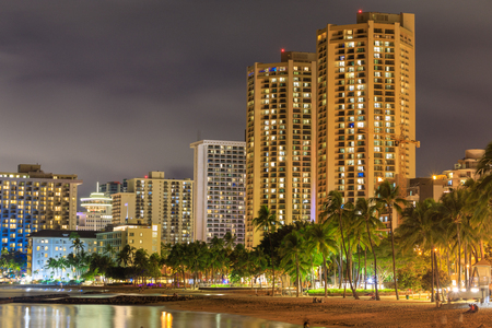 Honolulu, Hawaii - Dec 25, 2018 : Honolulu skyline with Waikiki beach, hotels building at sunset Editorial