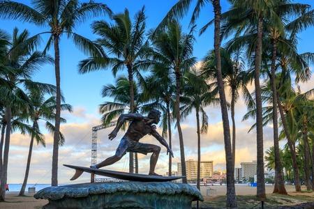 Honolulu, Hawaii - Dec 26, 2018 : Surf statue on Queens Beach area of downtown Waikiki Honolulu, Oahu, Hawaii