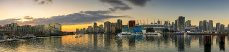 Vancouver, Canada - December 31, 2018 : View of False Creek and Vancouver skyline