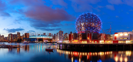 Vancouver, Canada - December 31, 2018 : View of False Creek and Vancouver skyline, including World of Science Dome