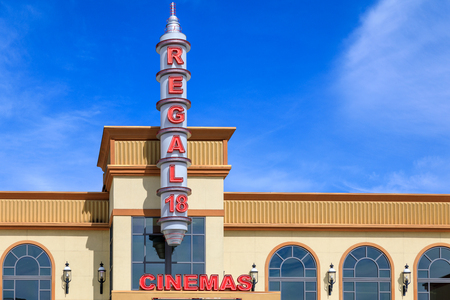 Tigard, Oregon - March 17, 2019 : Cinema building at Bridgeport Village, Shopping Mall in Tigard city
