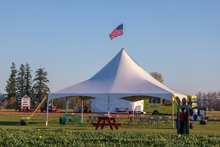 Clackamas County, Oregon - March 31, 2019 : Scene of Wooden Shoe Tulip Festival in spring season