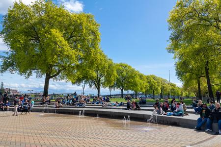 Portland, Oregon - April 27, 2019 : Scene of Waterfront park along Willamette riverside in downtown Portland Editorial
