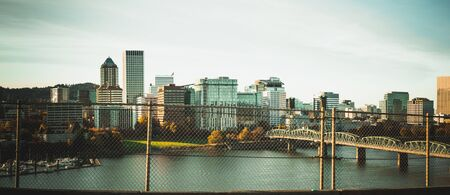 Portland, Oregon - Oct 28, 2019 : Portland downtown skyline view from highway in Oregon state