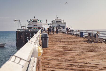 Malibu, California - February 17, 2020 : Scene of Malibu Pier Beach Stock Photo