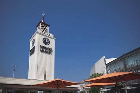Los Angeles, California - February 18, 2020 : The Farmers Market tower in Los Angeles. The market area offers over a hundred vendors and is open seven days a week.