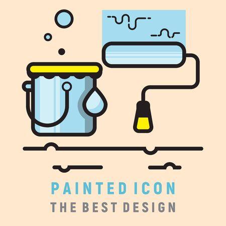 simple blue painted icon design  イラスト・ベクター素材