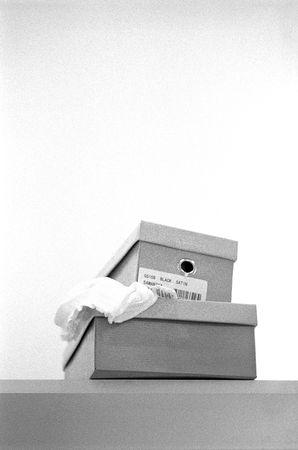 shoe boxes: Peque�a pila de cajas de zapatos en un estante.