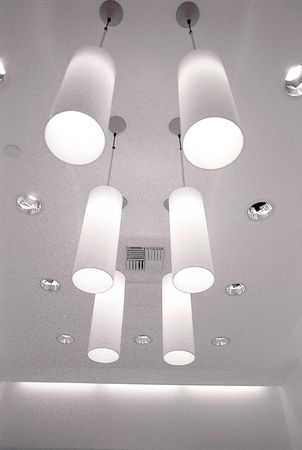 mod: Hanging Light fixtures shot in black and white. Stock Photo