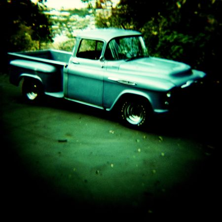 Classic chevy truck, shot with a toy camera. Stock Photo