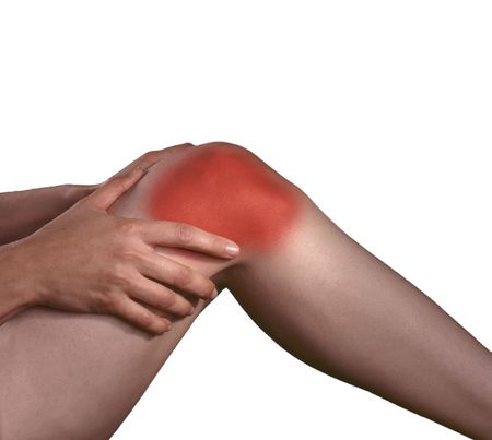 arthritis pain: Arthritis pain in the knee joints, hands rubbing the pain.