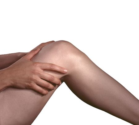 Arthritis pain in the knee joints, hands rubbing the pain. Stock Photo - 4932588