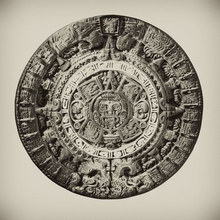 mayan calendar: Clay Aztec Calendar, knocked out of the background.
