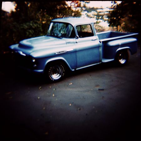 Classic 1957 Chevy Truck shot with a toy camera. Imagens