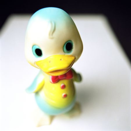 hygeine: Rubber Duck, most often used as a distraction to help the hygeine challenged achieve clenliness. Stock Photo