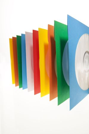 sleeve: Multiple disc sleeves, standing on a clean background with a disc showing in the first window.