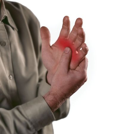 arthritis pain: Arthritis pain in the joints of the knuckles.