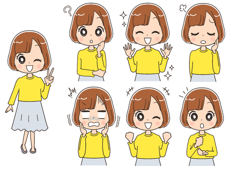 Collection of girls with various expressions Çizim