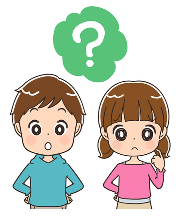 Boys and girls have questions Illustration