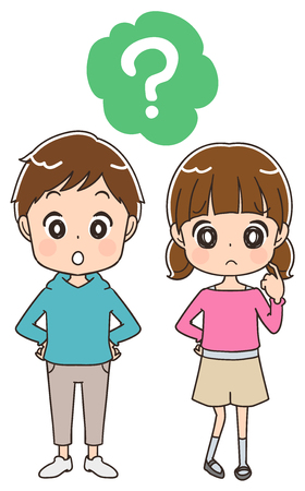 Boys and girls have questions. Illustration