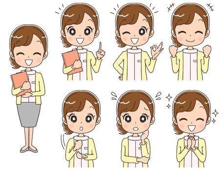 Vrouwelijke verpleegkundigen hebben verschillende gezichtsuitdrukkingen