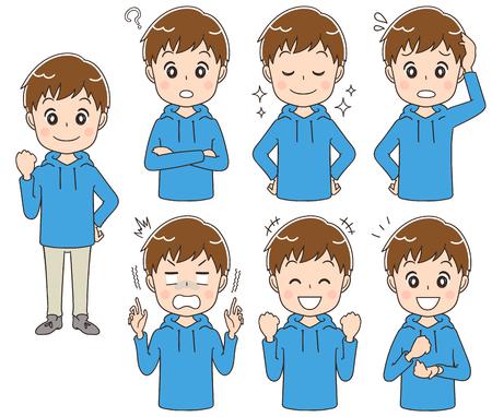 10 代の少年が様々 な表情を作っています。  イラスト・ベクター素材