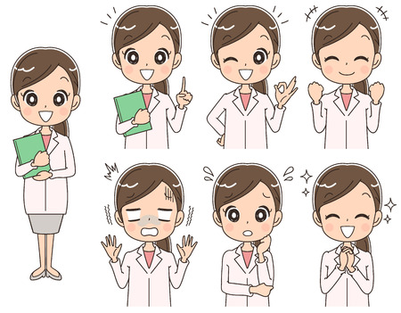 Female doctor has various facial expressions