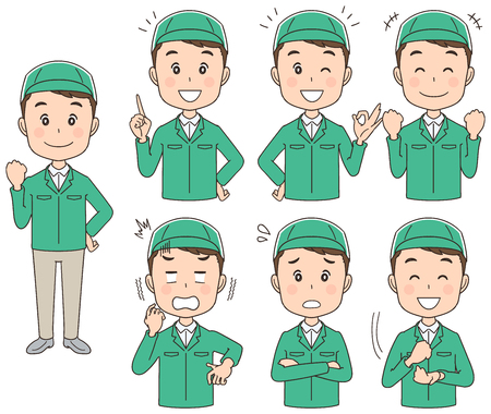 The Courier man has various facial expressions