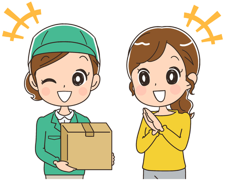 Women receive package from courier