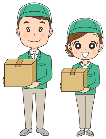 Delivery company male and female staff