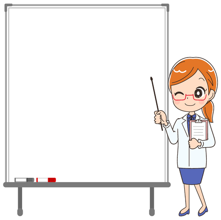 The female doctor with a white board