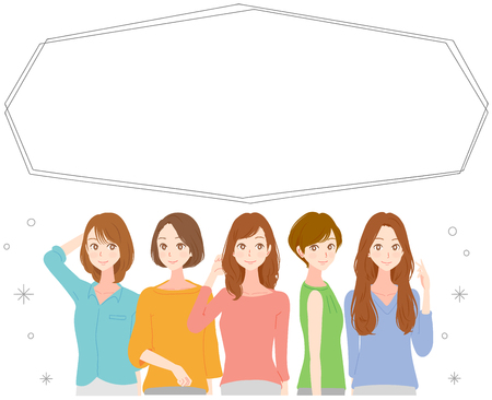 Five fashionable women and a balloon. Vectores