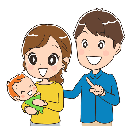anime young: Mother, father and baby watching.