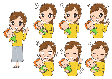 An assortment of mother with different expressions