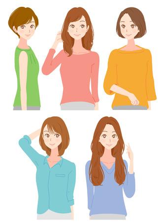 유행 여성 5 명.
