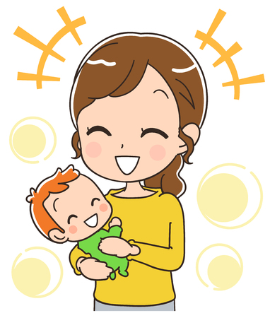 baby and mother: Mother holding a happy baby.