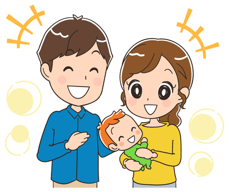 Parents with a happy baby. Illustration