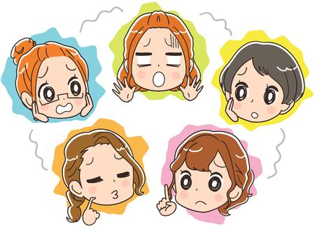 불안정한 식으로 여성 그룹. 얼굴 아이콘 세트