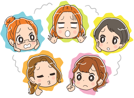 Women's group with an uneasy expression. Set of face icons 向量圖像