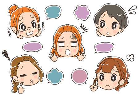 Women's group with an uneasy expression. Illustration