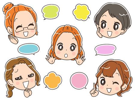 채팅 여성 그룹입니다. 풍선 아이콘 세트