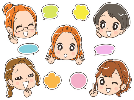 Chatting female group. Set of balloon icons