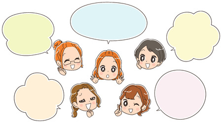 Group of women having fun. With a speech bubble
