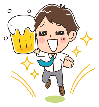 A businessman holding a beer having fun.