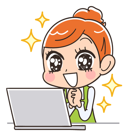 A housewife feeling hope by seeing a personal computer. Illustration