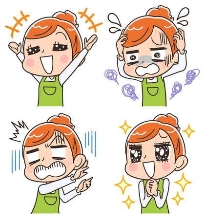 A housewife with various facial expressions Stock Illustratie